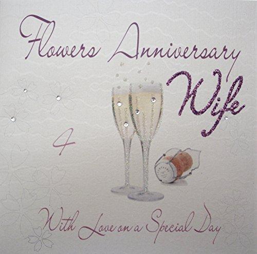 White Cotton Cards WA4-W Champgne Bloemen 'Huwelijksdag' Wife 4 jaar 4 jaar', handgemaakt, wit