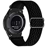 UHKZ 22mm Nylon Elastic Watch Bands Compatible with Samsung Galaxy Watch 3 45mm/Galaxy Watch 46mm/Gear S3 Classic/Frontier/Huawei GT 2 46mm,Adjustable Fabric Breathable Stretchy Wristband,Black