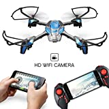 KAI DENG HS80 FPV RC Drone with Camera Live Video, Kids Drones for Beginner - 2.4GHz 4CH 6-Axis Gyro Quadcopter with Altitude Hold Gravity Sensor and Headless Mode RTF Helicopter