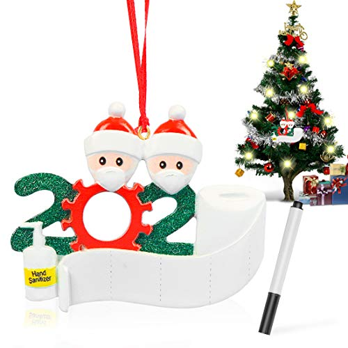 Wishstar Famiglia Sopravvissuta Decorazioni Natalizie, 2 Persone Pupazzo di Neve Decorazione Sospesa, Nome dell'albero di Natale, Bricolage, 2020 Regali di Natale Personalizzati per Famiglia e Amici
