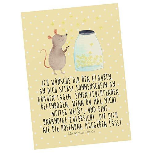 Mr. & Mrs. Panda Karte, Grußkarte, Postkarte Maus Sterne mit Spruch - Farbe Gelb Pastell