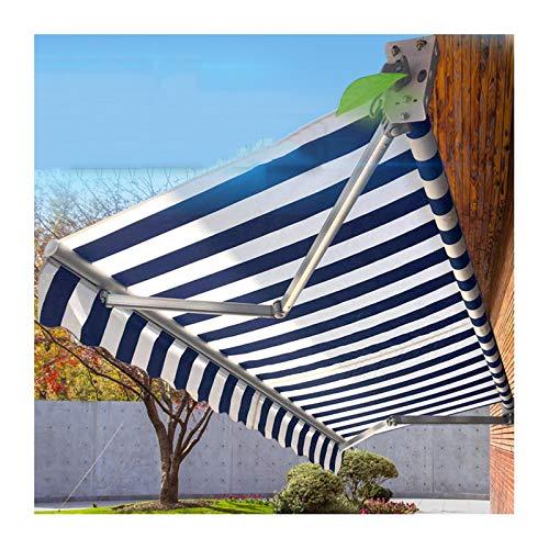 GDMING Retráctil Vela De Sombra, Cubierta De Repuesto para Toldo, Impermeable Proteccion Solar Paño De Lluvia por Patio Jardín Balcón 330 Gramos Poliéster, Tamaño Personalizado Azul Y Blanco