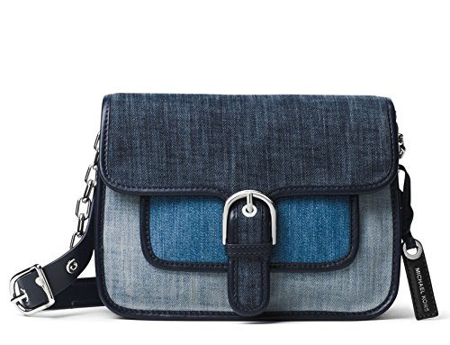 "Indigo / Light Washed Denim / leather trim. Flap top with buckle strap; push-lock closure. Removable logo tag on side. Front slip pocket under flap. Logo jacquard lining. Interior features 1 zip pocket, 1 slip pocket and key clip 7.3""(H) x 9.5""(L) x ..."