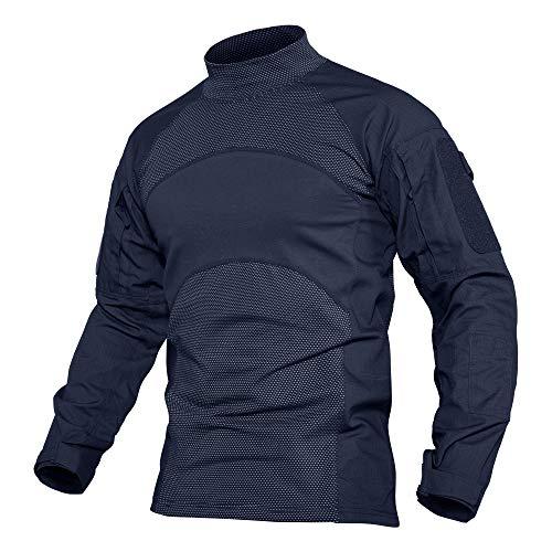MAGCOMSEN Männer Langarm Outdoor Shirt Atmungsaktiv Oberteil Funktionsshirt für Herren Tarn T-Shirt Jagd Pullover Quick Dry Taktisch Shirt mit Stehkragen Dunkelblau 2XL