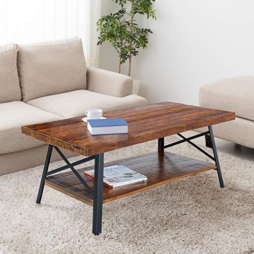 PrimaSleep 46' W Solid Wood Top & Steel Legs Cocktail Coffee Sofa Dining Garden Table, Rustic Brown