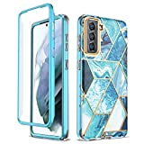 GOLINK 6.7 inch Bling Chrome Marble Full Body Shockproof Protective Case for Samsung Galaxy S21+ 5G (2021 Release), Slim Stylish Bumper Case Without Built-in Screen Protector-Blue