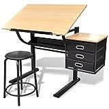 Tidyard Kinderschreibtisch Kippbarer Zeichentisch Arbeitstisch Mit 3 Schubladen & Stuhl,Büromöbel-Set Zeichentisch Architektentisch Schülerschreibtisch Schreibtisch Arbeitstisch