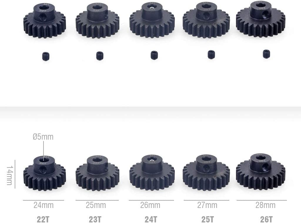 22T 23T 24T 25T 26T M1 Metal Steel Pinion Gear 5mm Shaft 1//8 RC Car Brushed Brushless Motor Gears Combo Set