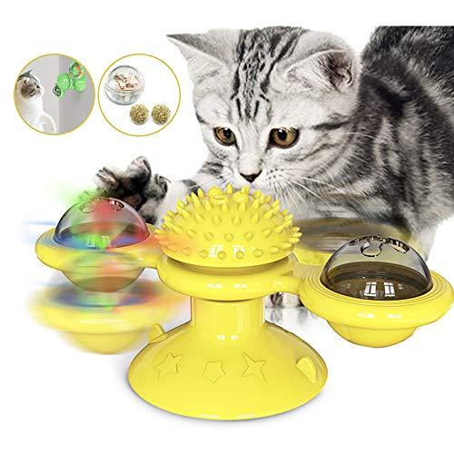 Souarts Interactief kattenspeelgoed Turning windmolen platenspeler haarborstel kattenbal met kattenmunt LED, geel