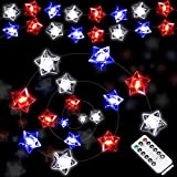50 LEDs Patriotic String Light USA Star Flag String Lighting Red White Blue Star LED String Lights Battery Operated with Remote for Bedroom Independence Day Decoration Memorial Day