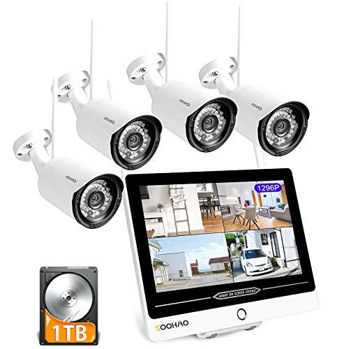 SOOHAO überwachungskamera System WLAN, 1296P überwachungskamera aussen WLAN 4pcs,überwachungskamera mit Monitor 12-Zoll-Monitor NVR Fernüberwachung Nachtsicht, Bewegungserkennung ip66 [2021NEUE 3MP]