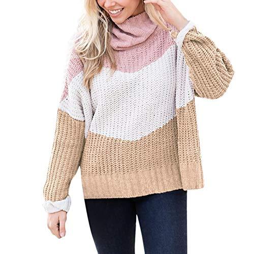 Jersey Suéter Sweater Suéter De Moda Mujer Jerseys De Cuello Alto De Manga Larga Ropa De Mujer De Gran Tamaño S Caqui