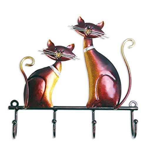 TOOARTS Perchero de pared Metal de Gato para Colgar llaves Sombreros para Decorar su Hogar Estilo Vintage