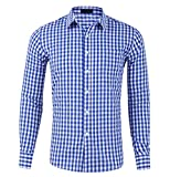 CATERTO Men's Slim Fit Plaid Checkered Gingham Long...