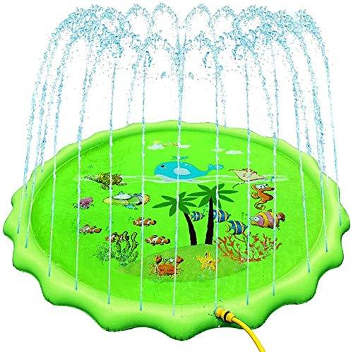 LYQZ Kindergarten Wasser-Spray-Pad, PVC Aufblasbare Splash Pad Rasen Gamepad Spielen Wassersprenkler Pad 170 cm (Color : Green)