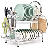 TOMORAL Dish Rack, 304 Stainless Steel 2 Tier Dish Drying Rack with Drain