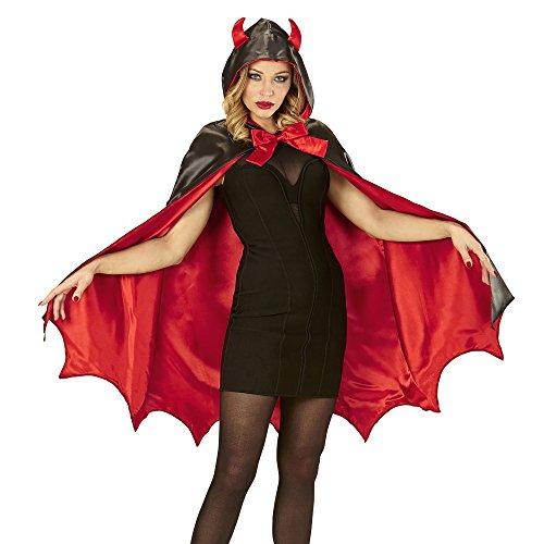 Widmann 96894 - Teufel, Umhang mit Kapuze, schwarz-rot, Halloween, Karneval, Mottoparty