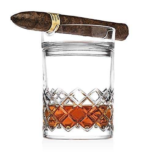 Godinger Cigar Whiskey Glass Set - Old Fashioned Whiskey Glass and Cigar Holder Bar Set