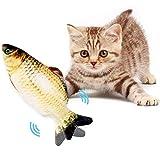 Katzenminze Fischspielzeug,28cm Simulationsfisch,USB Electric Plush Fish Katzenspielzeug, Elektrisch Spielzeug Fisch,Katzenspielzeug zum Spielen, Beißen, Kauen und Treten,Katze Spielzeug Fisch(Gelb)