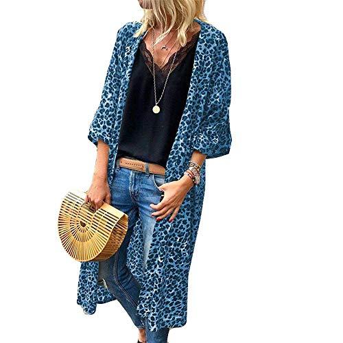 Xmiral Damen Strickjacke Mantel Baumwolle Langarm Leopardenmuster Fashion Tank Outwear Tops (L,Blau)