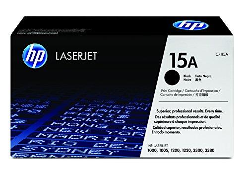 HP 15A C7115A, Negro, Cartucho Tóner Original, de 2.500 páginas, para impresoras HP LaserJet 1000W, 1200, 1200N, 3330 MFP, 3300, 1220, 1005W, 3320 y 3380