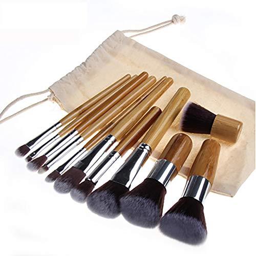 Pinceau De Maquillage Set 11 Pcs Professional Cosmetics Brosses Avec Poignée En Bambou Poignée En Bambou Écologique Avec Set Brosse Maquillage Sac En Toile De Jute,Marron