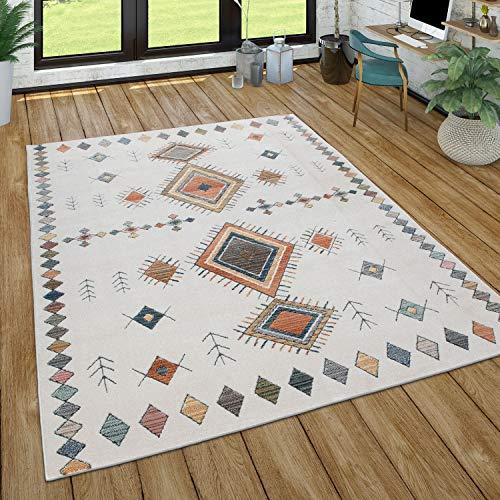 Tappeto Soggiorno Pila Corta Modello Geometrico Skandi Boho Stile Moderno, Dimensione:160x230 cm, Colore:Crema