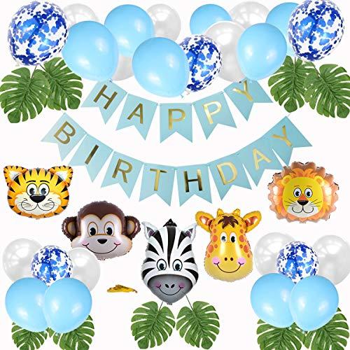 sancuanyi Dschungel Geburtstag Deko, Kindergeburtstag Deko Party-Set Happy Birthday Girlande Luftballons Folienballon Tiere Palmblättern für Geburtstagsdeko Jungen, Safari Themengeburtstag