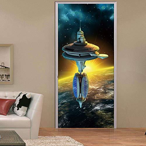 CandyTT Pegatinas de Pared Modernas 3D Mural Dormitorio Estación Espacial Etiqueta de Puerta Impermeable (Multicolor)