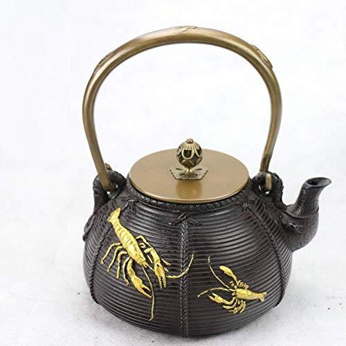 Tetera,Tetera de hierro fundido,Juego de tetera Juego de té de hierro fundido Southern Iron Pot Langosta Hierro fundido Pot Hervidor de té Set 1 4L Decoración del hogar Presente