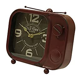 Manual Woodworker Retro TV Table Top Clock Brick Red