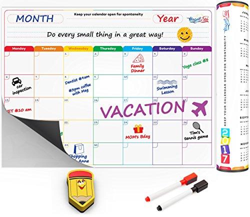 Monthly Calendar Planner Magnetic Board - Dry Erase Board Refrigerator Calendar - Fridge Calendar Monthly Schedule Board - Message Board and Reminder for Kitchen Refrigerator - 16x12 Inch