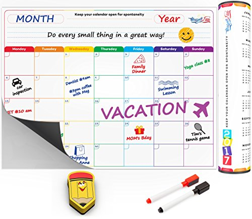 MagnetElite Fridge Calendar White Board and Organizer with Markers, Smiley Face Erasers and Photo Corners