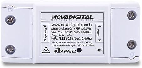 Relé Eletrônico Para Automação Residencial NovaDigital Basic01 RF433Mhz e 2,4GHz Compatível com Alexa e Google Home