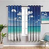 Cortina de ventana negra tropical, 2 paneles, playa de verano con exquisito cielo relax vacaciones lejos costa serena paisaje habitación azul turquesa blanco ancho 42 x largo 63 pulgadas