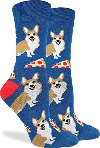 Good Luck Sock Corgi Pizza Calcetines para mujer, color azul, talla 5-9