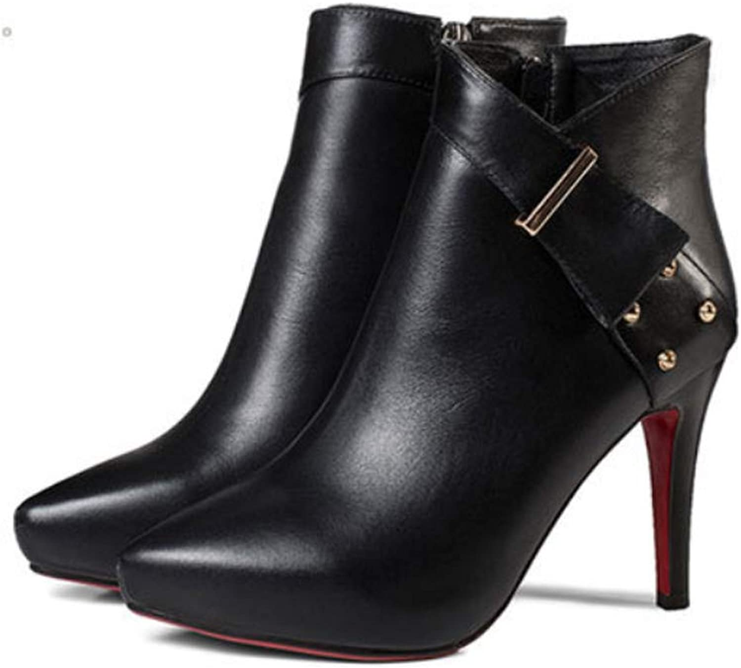 Women's shoes Platform High Heel Stiletto Ankle Boots Winter Zip Ladies Mid Calf Boots for Fall Winter