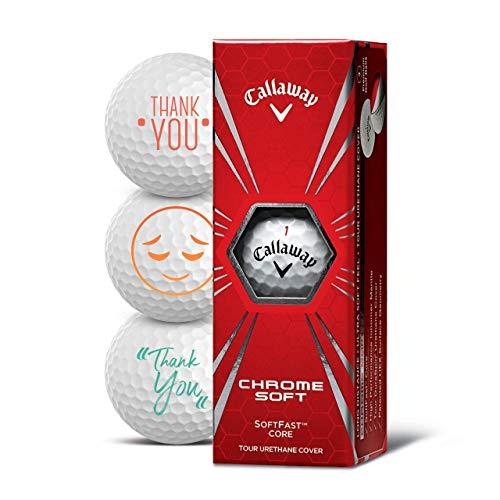 Callaway Golfbälle 3er Pack Motiv Danke Thank You Golf Geschenke für Golfer Geschenkidee (Chrome Soft)