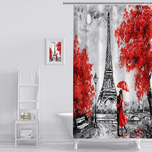 MuaToo Duschvorhang Ölgemälde Paris Europäische Stadt Landschaft Frankreich Eiffelturm Schwarz Weiß & Rot Grafik Druck Polyester Stoff Badezimmer Dekor Sets mit Haken 183 x 198 cm