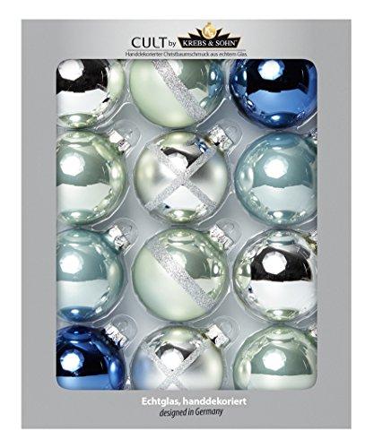 KREBS & SOHN 12er Set Glaskugeln - Be COOL Weihnachtsbaumschmuck - Christbaumkugeln - Silber, Jeansblau, Pastellfarben