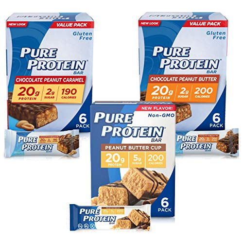 Pure Protein Bars, High Protein, Nutritious Snacks to Support Energy, Low Sugar, Gluten Free, Peanut Butter Lovers Variety Pack, 1.76 oz, Pack of 18