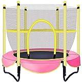 Shining Mini Trampoline, Outdoor Enfants Trampoline avec Filet De Protection, Piscine Intérieure Petit Trampoline Peut Résister À 100 Kg,Rose