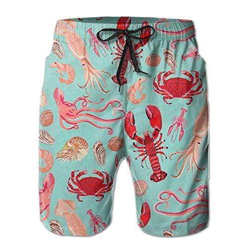 EU Herren Badehose Quid Crab Shrimp Fisch Hummer Quick Dry Boardshorts Badeanzüge Badebekleidung Volley Beach Trunks