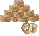 Self Adhesive Bandages - 1' x 5 Yards Per Roll - Pack of 12 Rolls, Elastic Self Adherent Cohesive Wrap First Aid Tape for Sprain Swelling and Soreness on Wrist and Ankle