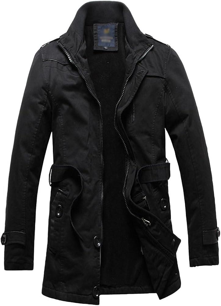 Chickle Men's Stand Collar Solid Color Waist Fluff Liner Coat Jacket