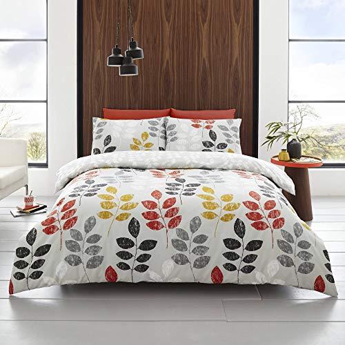 Happy Linen Company Floral Leaf Trail Botanical Grey Super King Bedding Duvet Cover Set