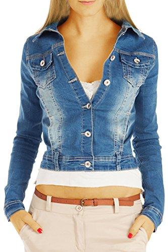 bestyledberlin Damen Jeansjacke, Taillierte Denim Jacken, Skinny Fit Langarm Oberteile ja65p L