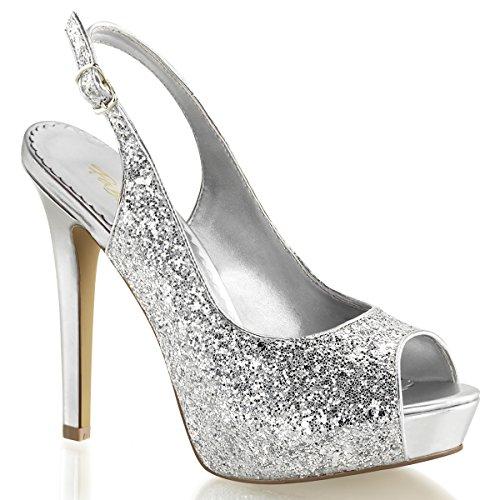 Fabulicious Lumina-28G Sexy Burlesque High Heels Plateau Sling Peeptoe Pumps Silber Glitter 35-42, Größe:EU-39/US-9/UK-6