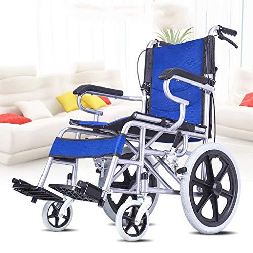 WRJY Rollstuhl Faltbarer Rollstuhl, ultraleichter tragbarer Rollstuhl für ältere Menschen mit Behinderung, geeignet für kompakten Transport und Lagerung in Innenräumen, blau