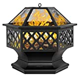 "Bonnlo 24-Inch Outdoor Fire Pit with Mesh Screen and Poker Hex Shaped Metal Wood Burning Bonfire Pit for Outdoor Camping Patio Backyard Garden - 8""Deep Bowl"